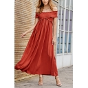 Leisure Popular Womens Off the Shoulder Criss Cross Stringy Selvedge Solid Color Maxi Pleated A-Line Dress