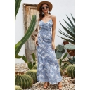 Sexy Chic Light Blue Sleeveless Ruched All Over Floral Print Open Back Ruffled Trim Maxi A-Line Cami Dress for Girls