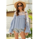 Gorgeous Summer Ladies Bell Sleeve Round Neck Flower Print Panel Ruffled Trim Pleated Loose Blouse Top in Blue