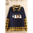 Novelty Girls Long Sleeve Lapel Neck Japanese Letter Cat Graphic Checker Printed Patched Relaxed Pullover Sweatshirt