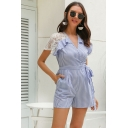 Stylish Ladies Short Sleeve Surplice Neck Stripe Print Lace Patched Slim Fit Romper in Blue