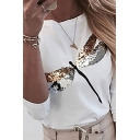 Chic Womens Long Sleeve Round Neck Sequined Dragonfly Print Regular Fit T-Shirt in White