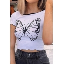 Womens Chic Fancy Short Sleeve Crew Neck Butterfly Print Stringy Selvedge Contrast Piped Fitted Cropped Tee in White