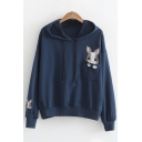 Popular Womens Long Sleeve Drawstring Rabbit Embroidery Relaxed Fit Hoodie