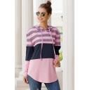 Casual Simple Girls Long Sleeve Drawstring Stripe Printed Color Block Curved Hem Loose Fit Hoodie