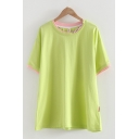 Fancy Womens Short Sleeve Round Neck Letter Embroidered Contrasted Patched Relaxed Fit T-Shirt