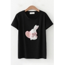 Womens Stylish Short Sleeve Round Neck Rabbit Heart Pattern Bow Tie Panel Relaxed Fit T-Shirt
