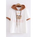 Fashionable Womens Short Sleeve Hooded Drawstring Bear Letter LIFE WITH FLOWER Graphic Contrasted Regular Fit Tee in White