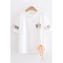 Casual Girls Short Sleeve Round Neck Cat Printed Bow Tie Relaxed Fit T-Shirt