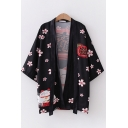 Fashionable Girls Three-Quarter Sleeve Straps Letter Cat Floral All Over Print Loose Fit Kimono Sun Protection Cardigan