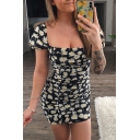 Womens Stylish Off the Shoulder Ditsy Floral Printed Mini Tight Dress in Black