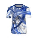 Mens Popular Short Sleeve Crew Neck Blue Tube 3D Printed Loose Tee in White