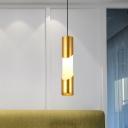 Metal Tubular Hanging Lighting Minimalist LED Gold Pendant Lamp in Warm/White Light for Restaurant
