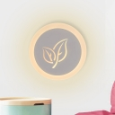 White Round Flush Wall Sconce Simple LED Acrylic Wall Lighting Fixture with Leaf Pattern
