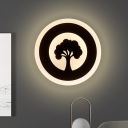 Black Circular Wall Mount Light Modernism LED Acrylic Flush Wall Sconce in White/Warm Light with Tree Pattern