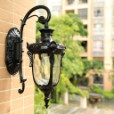 Water Glass Pinecone Sconce Lamp Countryside 1 Head Outdoor Wall Lighting Fixture in Gold/Black