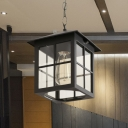 Lodges Lantern Ceiling Light 1-Light Clear Glass Suspension Pendant Lamp in Black/Bronze for Outdoor