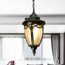 1 Bulb Pinecone Pendulum Light Lodges Black/Brass Clear Ribbed Glass Hanging Pendant Lamp