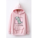 Lovely Girls Long Sleeve Drawstring Japanese Letter Dinosaur Graphic Flap Pocket Loose Fit Hoodie