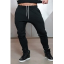 Hip Hop Boys Drawstring Waist Cuffed Slim Fit Plain Ankle Length Sweatpants