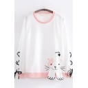 Casual Womens Long Sleeve Round Neck Lace Up Cat Letter SMILE Embroidered Contrast Piped Relaxed Tee Top