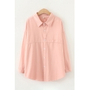 Basic Womens Long Sleeve Lapel Collar Button Down Solid Color Curved Hem Loose Shirt