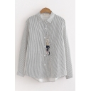 Basic Long Sleeve Lapel Collar Button Down Cat Embroidered Striped Curved Hem Relaxed Shirt for Women
