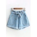 Casual Fancy Ladies Bow Tied Waist Rolled Edges Solid Color Relaxed Light Blue Denim Shorts