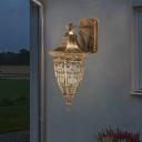1-Light Metal Wall Lighting Fixture Rustic Brass Urn Shaped Outdoor Wall Sconce Lamp