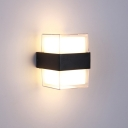 Clear Acrylic Cuboid Sconce Light Modernist Black and White LED Wall Mount Lamp for Dining Room in Warm/White Light
