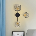 3 Lights Living Room LED Wall Sconce Modernist Black Wall Lamp with Geometric Metallic Shade