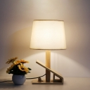 Tapered Drum Night Table Light Contemporary Wood 1 Light White Nightstand Lamp with Fabric Shade
