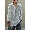 Basic Vintage Girls Roll Up Sleeves Lapel Collar Button Up Ruched Split Side Relaxed Shirt