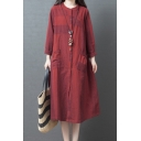 Leisure Ladies Retro Long Sleeve Crew Neck Button Down Stripe Print Color Block Cotton and Linen Long Oversize Dress