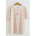 Womens Casual Stylish Short Sleeve Round Neck Cartoon Embroidery Striped Relaxed Fit Tee Top