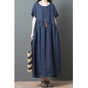Popular Womens Short Sleeve Round Neck Linen Patchwork Maxi Oversize Dress in Navy