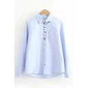 Preppy Girls Long Sleeve Lapel Neck Cartoon Button Down Pocket Glasses Embroidered Relaxed Fit Shirt