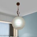 Spherical Ceiling Pendant Light Modern White Glass 1 Head Black Finish Suspension Lamp