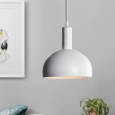 White Dome Shade Pendant Light Contemporary 1-Light Metal Hanging Lamp Kit for Dining Room
