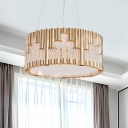 Drum Chandelier Simplicity Metal 3 Heads Living Room Pendant Lamp in Gold with Clear Crystal Accent