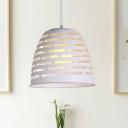 Laser Drop Pendant Modern Metallic 1 Light White Finish Hanging Light Fixture for Dining Room