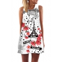 Womens Sleeveless Round Neck Digital Floral Pattern Short A-Line Tank Dress in White