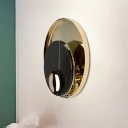 White/Black Round Flush Wall Sconce Modernist 1 Bulb Marble LED Wall Mount Light with Gold Metal Backplate