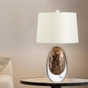 Minimalism Drum Fabric Nightstand Lighting 1 Bulb Night Table Lamp in White with Oval Glaze Base