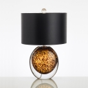 Fabric Drum Table Light Postmodern 1 Light Black Night Lamp with Egg-Shaped Glaze Base