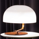 Minimalism LED Table Light Brown/White Dome Night Lighting with Metal Shade for Bedroom