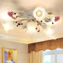 Sputnik Bedroom Semi Flush Light Fixture Korean Flower Milky Glass 4/6/9 Lights Green Flush Mount Lighting