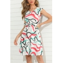 Elegant Ladies Short Sleeve Round Neck Abstract Stripe Printed Bow Tied Waist Short A-Line Work Dress