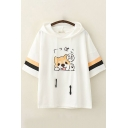 Cute Girls Short Sleeve Drawstring Japanese Letter Dog Embroidered Varsity Striped Relaxed Fit Ears Hooded Tee