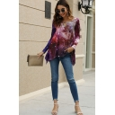 Fancy Ladies Long Sleeve Round Neck Hollow Out Galaxy Print Asymmetric Hem Loose Fit T Shirt in Red